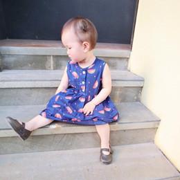 Été Mignon Bébé Filles Vêtements Enfants Robes De Mode Bleu Imprimer Pastèque Sans Manches Robe Enfants Vêtements 2-7Y ? partir de fabricateur