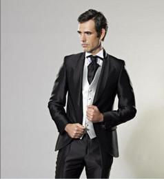 Wholesale Men Shiny Blazer - Groom Tuxedos Groomsmen One Button Shiny Black Shawl Lapel Best Man Suit Wedding Men's Blazer Suits Custom Made (Jacket+Pants+Vest+Tie) K150