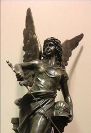 Wholesale Figurine Sculpture - Art Deco Figurine Marble Base Bronze Copper Goddess of Victory Sculpture Statue