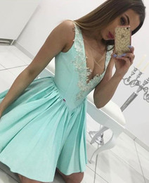 Wholesale Mint Green Short Cocktail Dresses - Sexy Illusion Mint Homecoming Dresses 2017 Mini Length Short Party Gowns V Neck Satin Fabric Cheap Cocktail Dresses