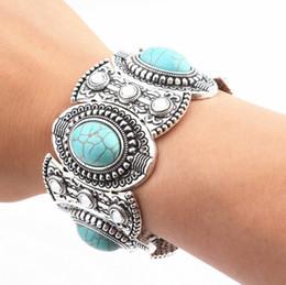 Abalorios bohemio online-Joyas de Bohemia Unisex Crystal Turquoise Beads Charms for Bracelets Silver Plated Brazaletes de aleación Bohemian Bracelets Jewelry Gifts