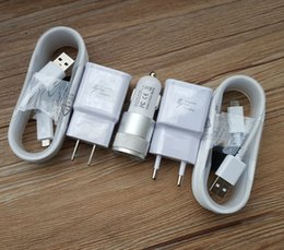 Wholesale Micro Usb Wall Oem - OEM Adaptive Rapid Fast Wall Charger +Car Charger +Micro 2.0 USB Cable for Samsung GalaxyS7 S6 S6 EDGE S6 edge Plus+ Note 5 4 S4 3