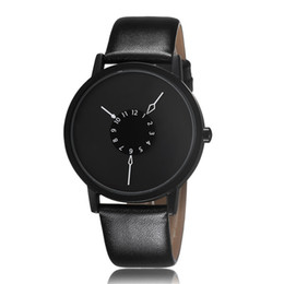 Wholesale Unique Mens Fashion - Paidu Fashion Cool Unique Design Quartz Wrist Watch Turntable Black Dial Clock Hours Mens Womens Gift Unisex Relogio Masculino