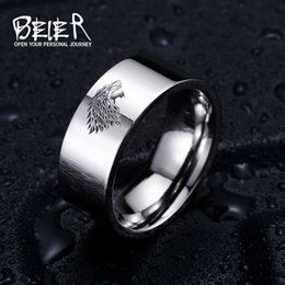 Wholesale Wolf Band Ring - Stainless Steel ring Game of Thrones ice wolf House Stark of Winterfell men ring LUO001