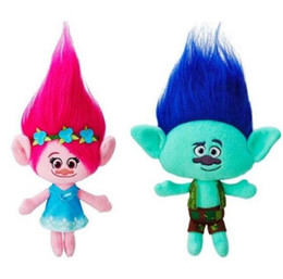 Wholesale Movies Figures - 2016 The Newest Movie Trolls Plush Toy Poppy Branch Dream Works Stuffed Cartoon Dolls The Good Luck Trolls Christmas Gifts