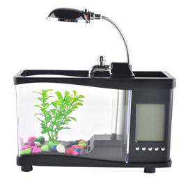 Wholesale Aquarium Pump Led - Creative USB Desktop Electronic Aquarium Mini Fish Tank with Water Running LED Pump Light Calendar Alarm Clock Home office decoration