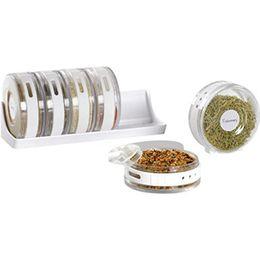 Wholesale Spice Box Set - New Creative 6pcs set Transparent Seasoning Cans Kitchen Cylindra Spice Rack Condiment Bottles Pepper Shakers Box