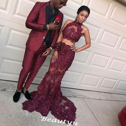 Wholesale Long Girl Black Skirts - Burgundy Two Piece Lace Prom Dresses 2017 Sheer High Neck Sequined See Through Skirt Mermaid Long African Black Girls Evening Party Gowns
