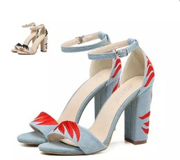 Wholesale T Strap Thick Heel Sandals - Fashion thick high heels designer sandals blue denim cloth embroidery ankle strap chunky heel shoes