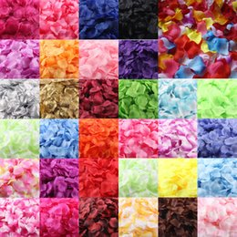 Wholesale Bridal Decor Petals - Wholesale- 1000pcs Silk Rose Petals Artificial Flower Wedding Favor Bridal Shower Aisle Vase Decor Confetti Sep13
