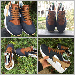 Wholesale Id Shoes - 2017 Huarache ID Custom Breathe Running Shoes For Men Women Denim navy blue tan Air Huaraches Multicolor Sneakers Hurache Trainers