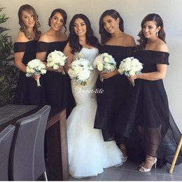 Wholesale Bridesmaid Short Sleeve Design - New Design Black Bridesmaid Dresses Plus Size Organza Short Front Long Back Off Shoulder 2017 Plus Size Wedding Party Maid of Honor Dress
