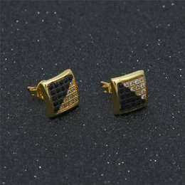 Wholesale Gold Studded Earrings - Hip-Hop Jewelry Twill Two-color Plating Black and White with Micro-studded Zircon Earrings Men HipHop Jewelry Wholesale