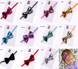 Wholesale Big Sequin Bow Headbands - 2016 Latest infant girls Bow headbands fashion design babys girls sequin big bow cotton hairbands headwraps hair accessories in 11 colors