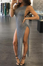 Wholesale Halter Date Dress - Heavy Metal Long Dress Sequined Fringed Party Dress Women Sexy Slit Dating Perspective Halter Evening Vestidos Female Dress yw-024