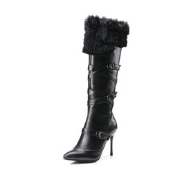 Wholesale fine zip - Autumn winter 2018 new European and American wind high and fine with a pointed head rabbit hair zipper fashion inside the tube beauty boots