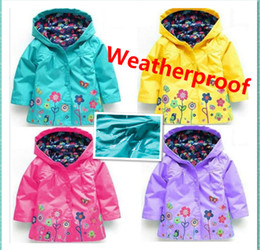 Wholesale 5t Winter Coat - Free shipping Children windproof and rainproof Jackets Keep warm Outwear coat Girls and boy lovely flowers raincoat JC34