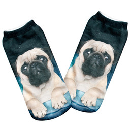 Wholesale Wholesale Galaxy Socks - Wholesale-HOT 1 pairs Women Men Unisex Fashion Cool Vivid 3D Printed Patterns Cotton pug galaxy Anklet Socks Hosiery Free Shipping
