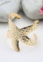 Wholesale Wholesale Starfish Cuff Bracelet - Wholesale-Fashion Women Gold Metal Luxury Hollow Starfish Flexible Bracelet Bangle Gift