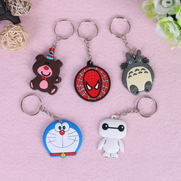 Wholesale Exquisite Keychain - Exquisite PVC Soft Rubber Models Cartoon Keychain Minions Skull Hello Kitty Key Ring Holder Key Chains Finder Souvenirs Gifts Item