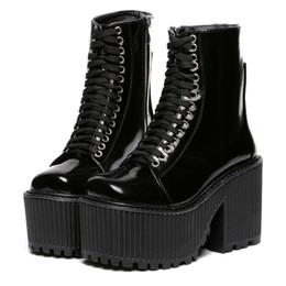 Wholesale Plastic Rocks - Wholesale-Botas Femininas 2015 New Motorcycle Boots Brand Designer Women Boots Platform Shoes Punk Rock Martin Boots Black  White Shoes