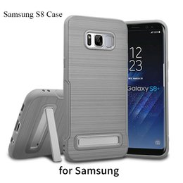 Wholesale Kickstand Case Holder For Samsung Galaxy S8 Plus S8Plus Brushed Silicone Plastic Frame Hybrid Back Cover Housing