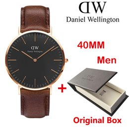 Wholesale W Watches - brown Original box Daniel watches 40mm Men watches 36mm women Luxury Brand Quartz Watch Female Clock Relogio Montre D Femme Wristwatches W