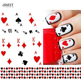 Wholesale Poker Stickers - Wholesale- 1 Sheet Nail Art Stickers Nail Water Transfer Poker Aces Nail Tips Decals Decoration DIY Watermark Manicure Tools STZ252