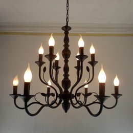 Wholesale Antique Candle Lamp - Luxury Rustic Wrought Iron Chandelier E14 Candle holder hanging light Black Vintage Antique Home Chandeliers For Living room lamp fixtures