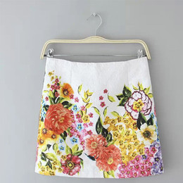 Wholesale Vintage Clothing Cheap China - Women sweet floral print skirts vintage zipper quality Femininas ladies casual office wear skirts cheap clothes china BSQ294