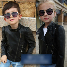 Wholesale Kids Girls Children Leather Jacket - Children jackets boys girls PU Leather pure color Outwears Kids stand-up collar zippers up Coats Autumn Children fashion Clothes C1526
