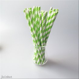Wholesale Shipping Straw Packing - Wholesale-Free Shipping 25pcs lot Green Striped creative drinking straw paper drinking tubes OPP Bags Packing Wedding