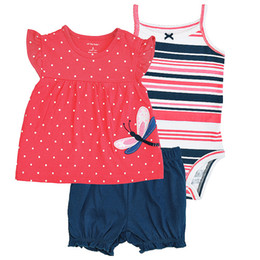 Wholesale Kids Summer Outfits For Boys - 2017 Hot Newborn Baby Girls Boys Clothes Baby Bodysuit Romper Set Infant Pajamas Shortsleeve Bodysuit 3pcs Outfits Set Lovely Gift for Kids