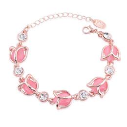 Wholesale Crystal Flower Twist - Wholesale-Romantic Female Bracelet Jewelry Fashion Rose Flower Shaped High Grade Opals Crystal Charm Bracelets For Woman Girls Best Gifts