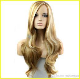 Wholesale Light Blonde Curly Wig Cosplay - Hair Wig New Fashion Long Big Wavy Hair Heat Resistant Wig for Cosplay Party Costume Light Blonde bea030