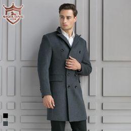 Wholesale mens wool cashmere blend overcoats - Wholesale- SIQILONG Black grey medium-long wool coat men winter jacket overcoat trench coat mens cashmere jacket coat wool & blends