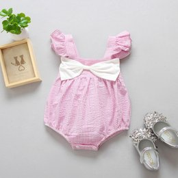 Wholesale Flying Tanks - Baby stripe romper Ins toddler kids fly sleeve romper children big bow tank tops jumpsuits 2017 summer baby girls cotton clothes T2378