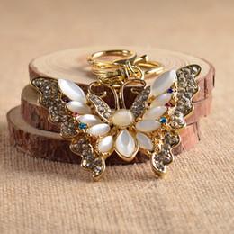 Wholesale Cute Butterfly Keychain - High-Grade Zinc Alloy Cute Gold Butterfly Charm Creative Gift Rhinestone Metal Keychain,Fashion Bag Pendant Key Chain Jewelry