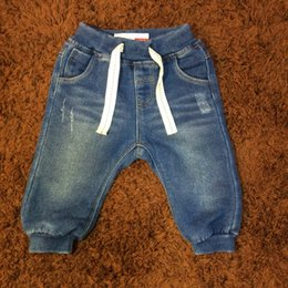 Wholesale Boys Jeans Pant - 2017 New Baby Boy Jeans Pants Solid Ripped Regular Fit Put on Jeans 4-24Months Children Clothing Kids Trousers
