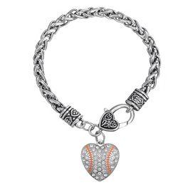 Wholesale Orange Rhinestone Charm - Crystal Heart Shaped Baseball Silver Plated Baseball Softball Heart Shape Orange Crystal Connector Pendant Bracelets Sports Gift
