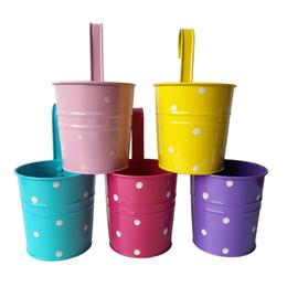 Multi-Color dot design All'ingrosso Vintage Metal Planter Vaso di fiori Gancio appeso pianta zinco Pot Antique Hanging Tub Fleurs da fioriere zinco all'ingrosso fornitori