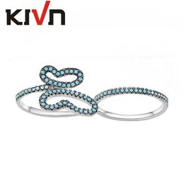 Wholesale Butterfly Mother - KIVN Fashion Jewelry Animal Butterfly CZ Cubic Zirconia Double finger Rings Womens Girls Chirstmas Birthday Mothers Day Gifts