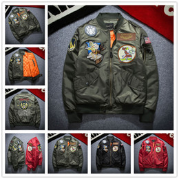 Wholesale New Bomber Jacket - 2017 New NASA Bomber Jacket Men Ma-1 Flight Jacket Pilot Air Force Male Ma1 Army Green Military motorcycle Jackets Coats S-3XL