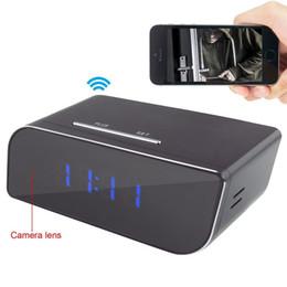 Wholesale Time Clocks Wifi - 32GB HD 1080P Wifi Hidden Cameras Alarm Clock Camera Motion Detection Wireless IP Camera Mini Spy Camera Real-time Monitoring Nanny Cam