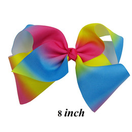 Wholesale Rainbow Designs - 8 Inch 12 Pcs Lot Large Girls Rainbow Ribbon Bow With Clip New Design Kids Barrettes Hairgrips Hair Accessories Beautiful HuiLin AC03