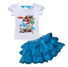 Wholesale Lycra T Shirt Kids - 2017 Summer MOANA Baby Girl Dress Casual Sets Children's Monana Dress T-shirt + Dress Children Set Suits Kids Clothing