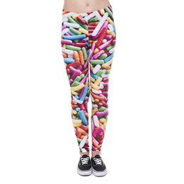 Wholesale Knit Leggings Pattern Free - Women Leggings Sprinkles 3D Graphic Print Lady Skinny Stretchy Yoga Wear Pants Girls Workout Tight Capris Colorful Pattern Trousers (J41606)