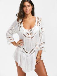 Wholesale White Crochet Lace Tops - 2017 Summer Beach Bikini Cover Ups Women crochet Lace white V neck blouses Hollow sexy Sunscreen loose shirt Swimwear swimsuit seaside tops