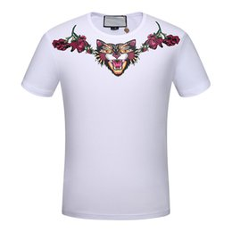 Wholesale New Pink Leopard - 2017 G luxury brand new leopard skull embroidery printing flowers in spring and summer t-shirt men short sleeve lovers blind love fashion
