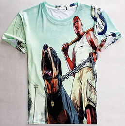 Wholesale Grand Gowns - Grand Theft Auto T shirt GTA game short sleeve gown Durable tees Leisure printing clothing Quality cotton Tshirt